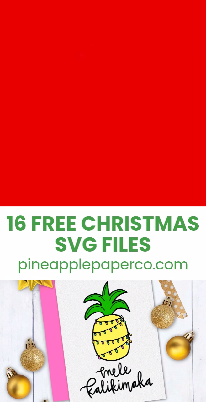 Download a FREE Mele Kalikimaka Christmas SVG (and 15 more FREE Christmas SVG Files for Cricut & Silhouette) to make Tropical Christmas Cards and a Christmas shirt to wear all season from Pineapple Paper Co. #cricut #silhouettecameo #freesvg #svgfiles #christmasshirt #christmasmovie #freecutfiles #svgcutfiles #diyshirt #diychristmasshirt #ironon #htv #tropicalchristmas #handmadecards #christmascards