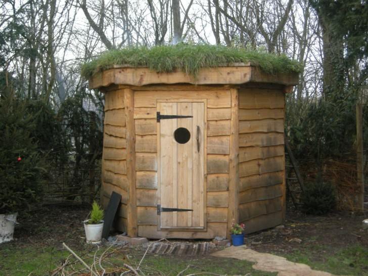 Hexagonal Timber Frame Sauna With Green Roof Cabin