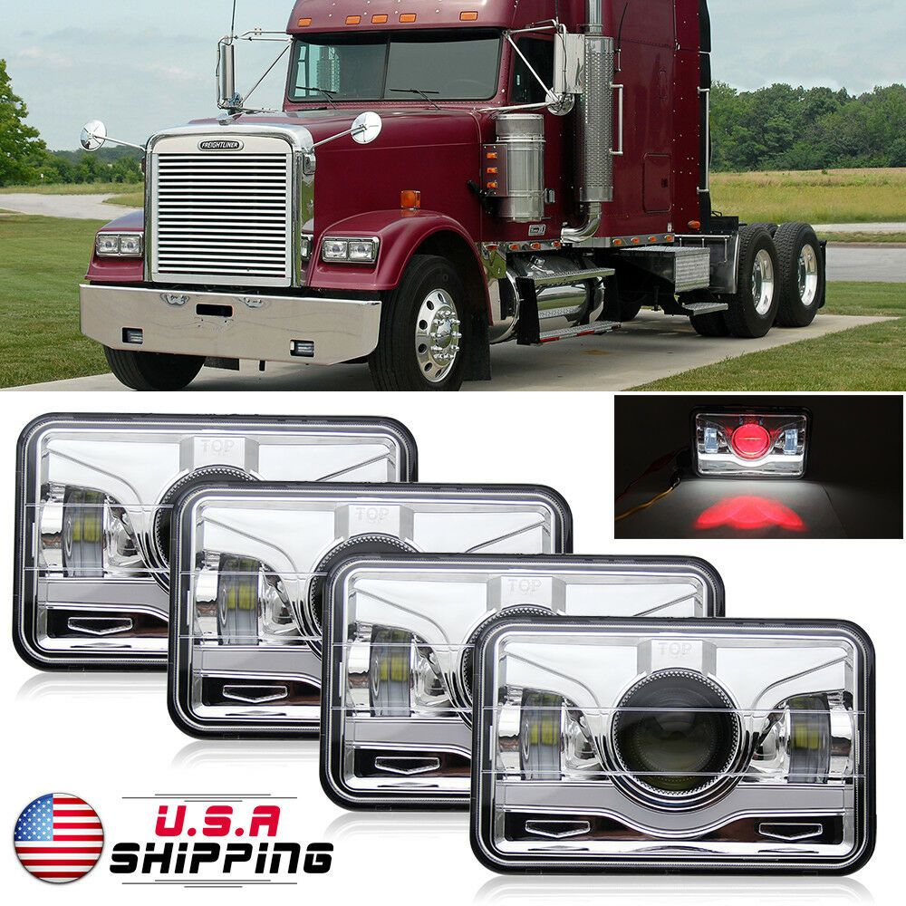 4x For FREIGHTLINER FLD 120 FLD 112 LED Headlights Sealed High//Low Beam Headlamp
