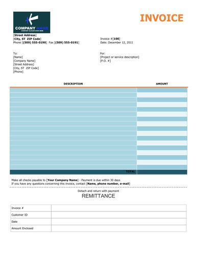 colorful service invoice template with remittance slip. Black Bedroom Furniture Sets. Home Design Ideas