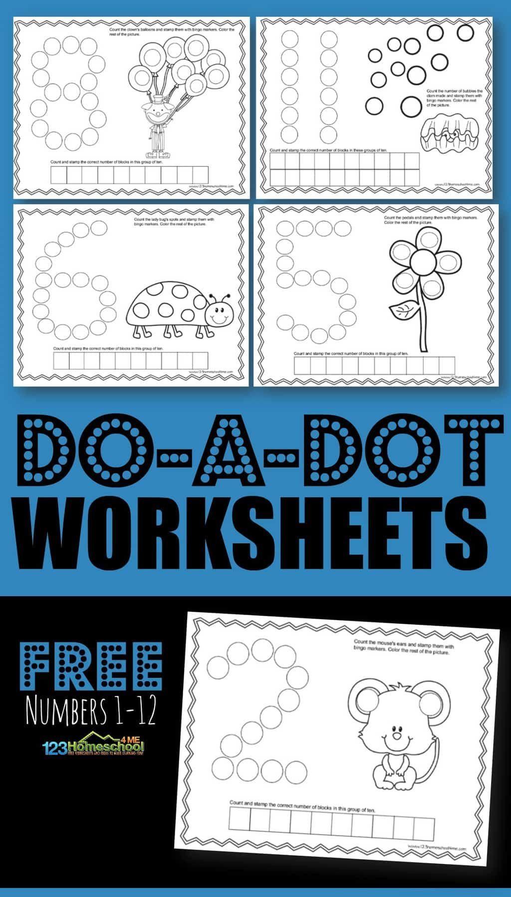 Do A Dot Worksheets Numbers 1 12 Worksheets Kindergarten
