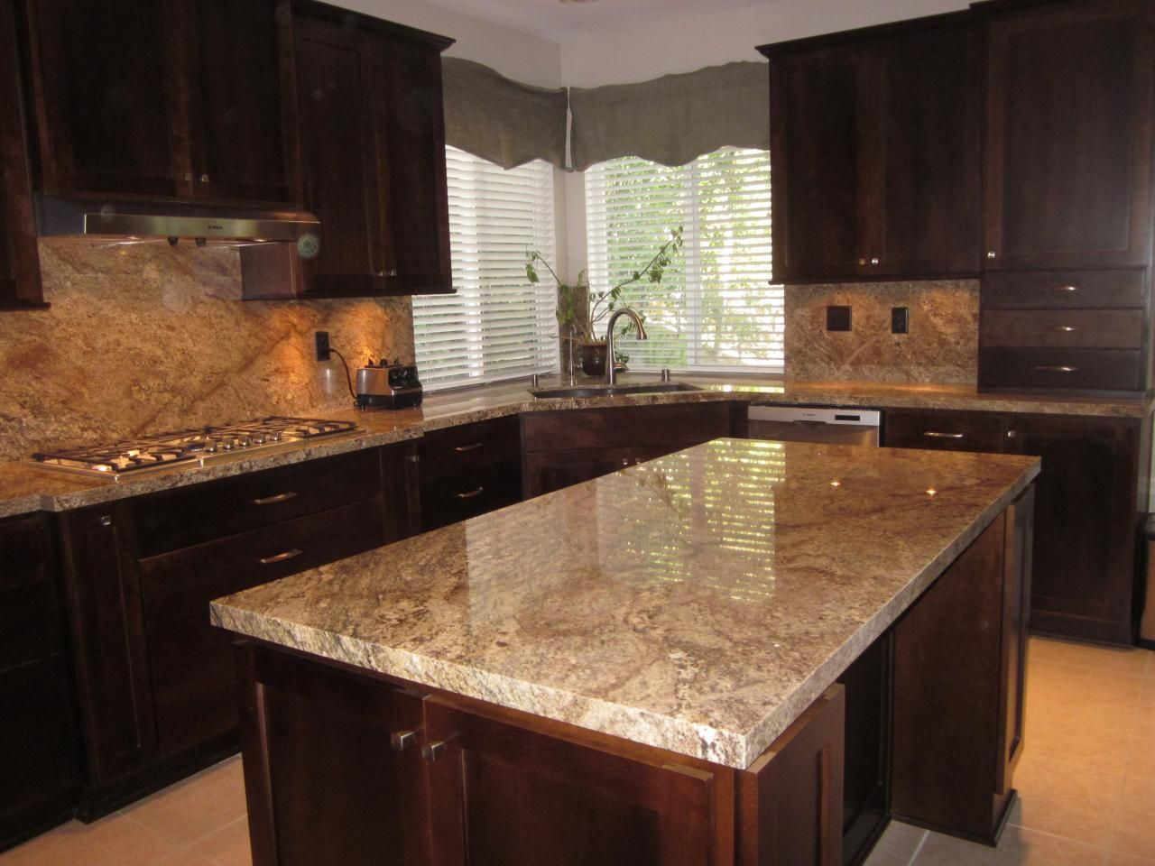transitional kitchen cherry cabinets with golden beaches. Black Bedroom Furniture Sets. Home Design Ideas