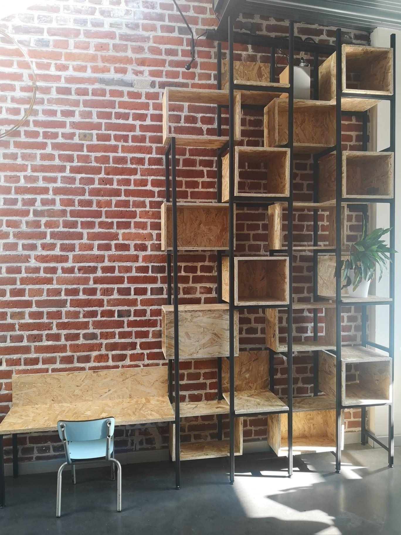 #bibliothèque #homemade #osb #metal #industriel #decorationinterieur #deco #briques