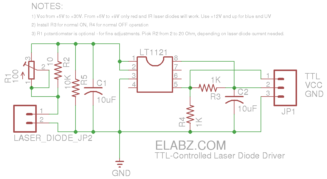 Ttl Controlled Laser Diode Driver Updated Schematics Diode Laser Laser Lights