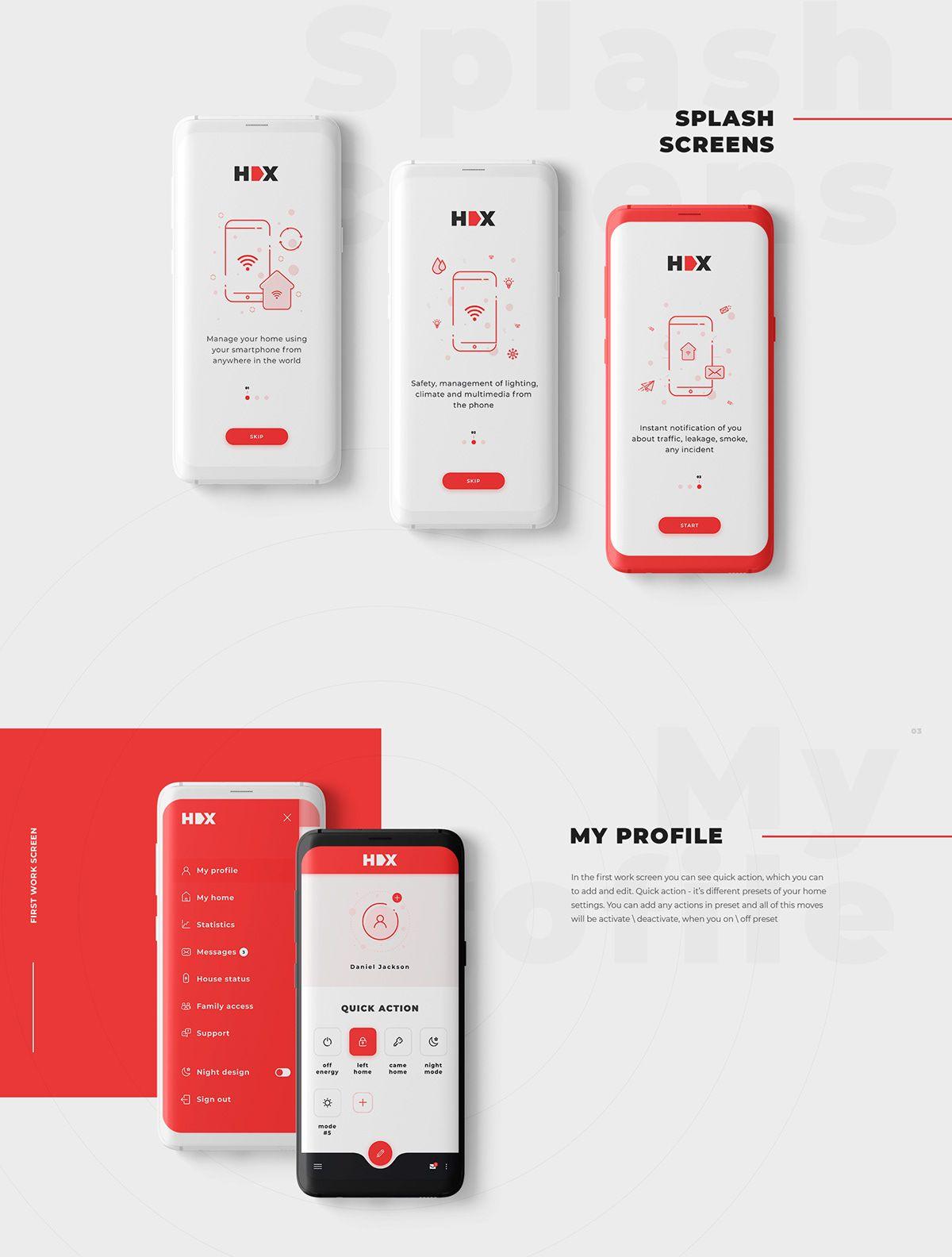 Home X / Smart home application on Behance 모바일 앱, 앱