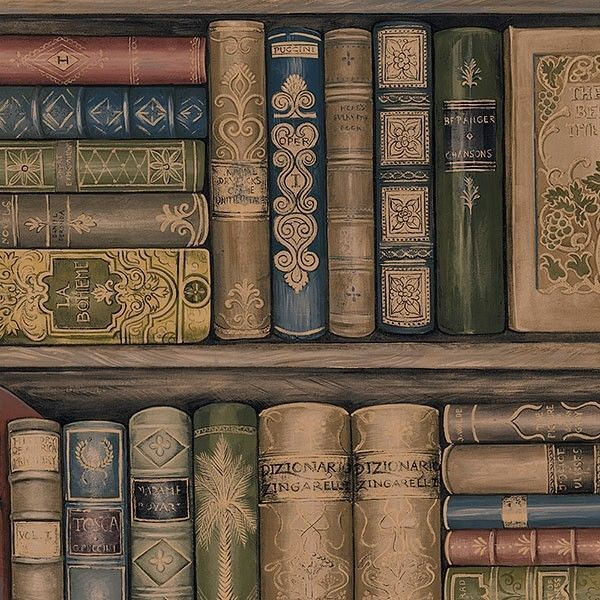 Wallpaper Designer Library Book Bookshelves Brown Green Red Gold Black Blue