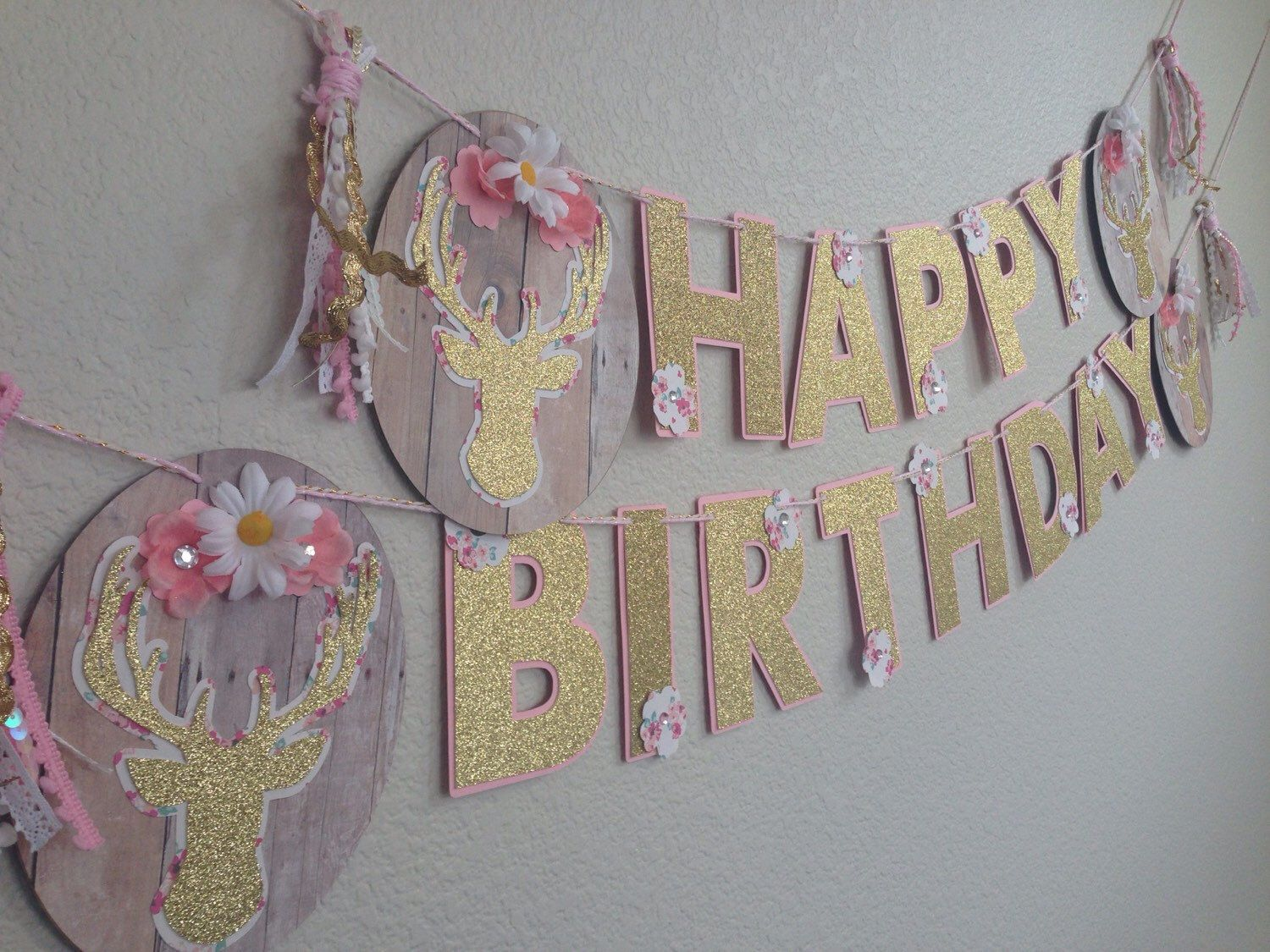 Boho Chic Shabby Deer Head Happy Birthday By JulesandKenna