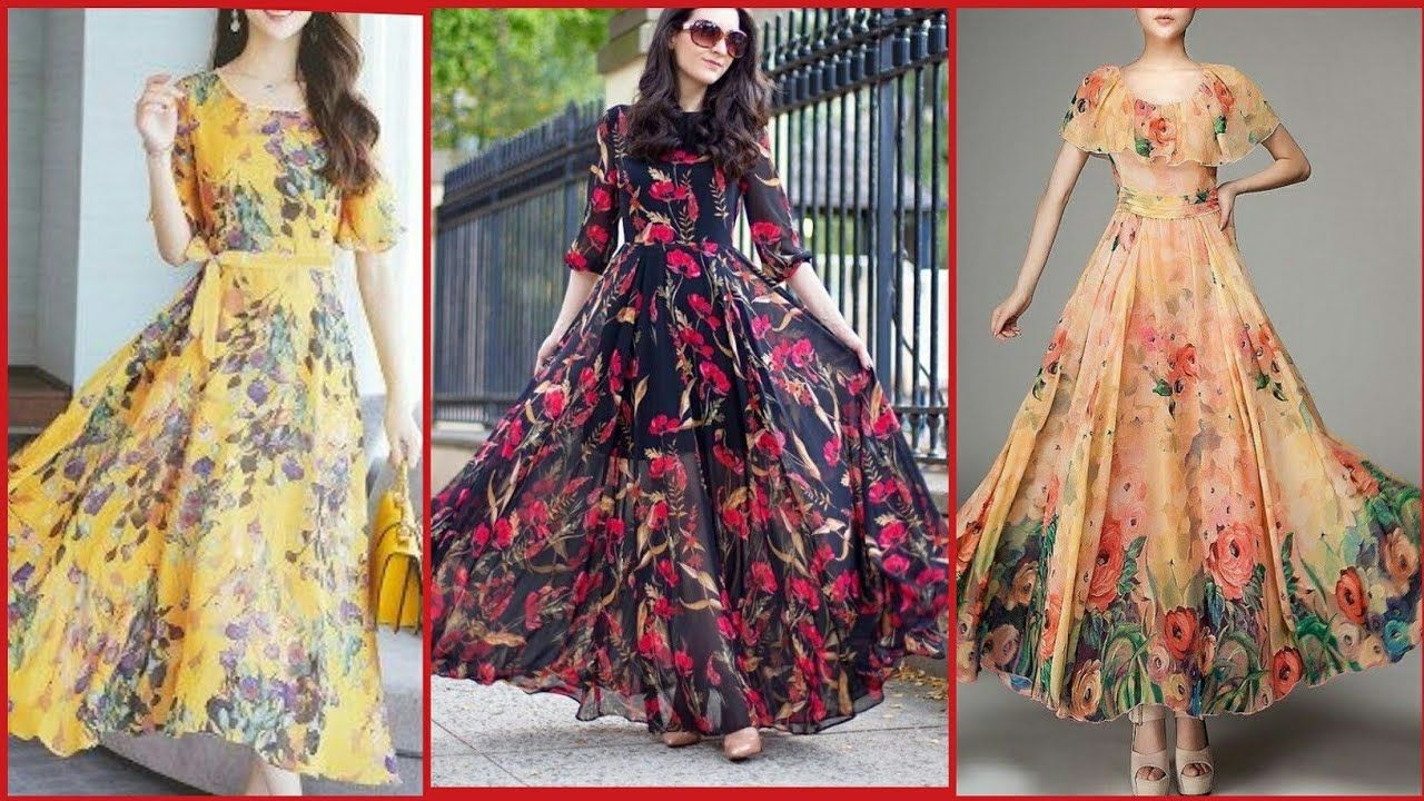 Latest Floral Print Frocks Style For Casual Wear Shifon Long Frocks Designs For Girls 2019 Casual Girls Frock Design Floral Print Frock Latest Floral Dresses
