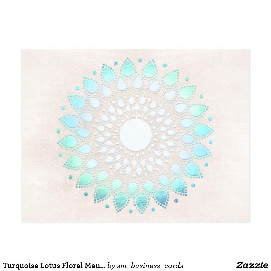 Turquoise Lotus Floral Mandala Postcard Pinterest Mandala And Lotus