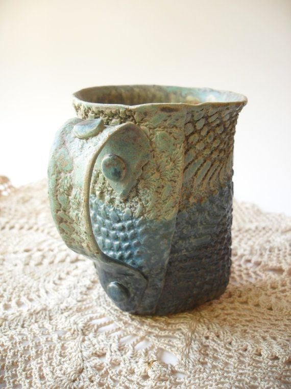 Mug In Natural Turquoise Yellow And Blues With By Windfallarts Pottery Art Pottery Handbuilding Ceramic Art