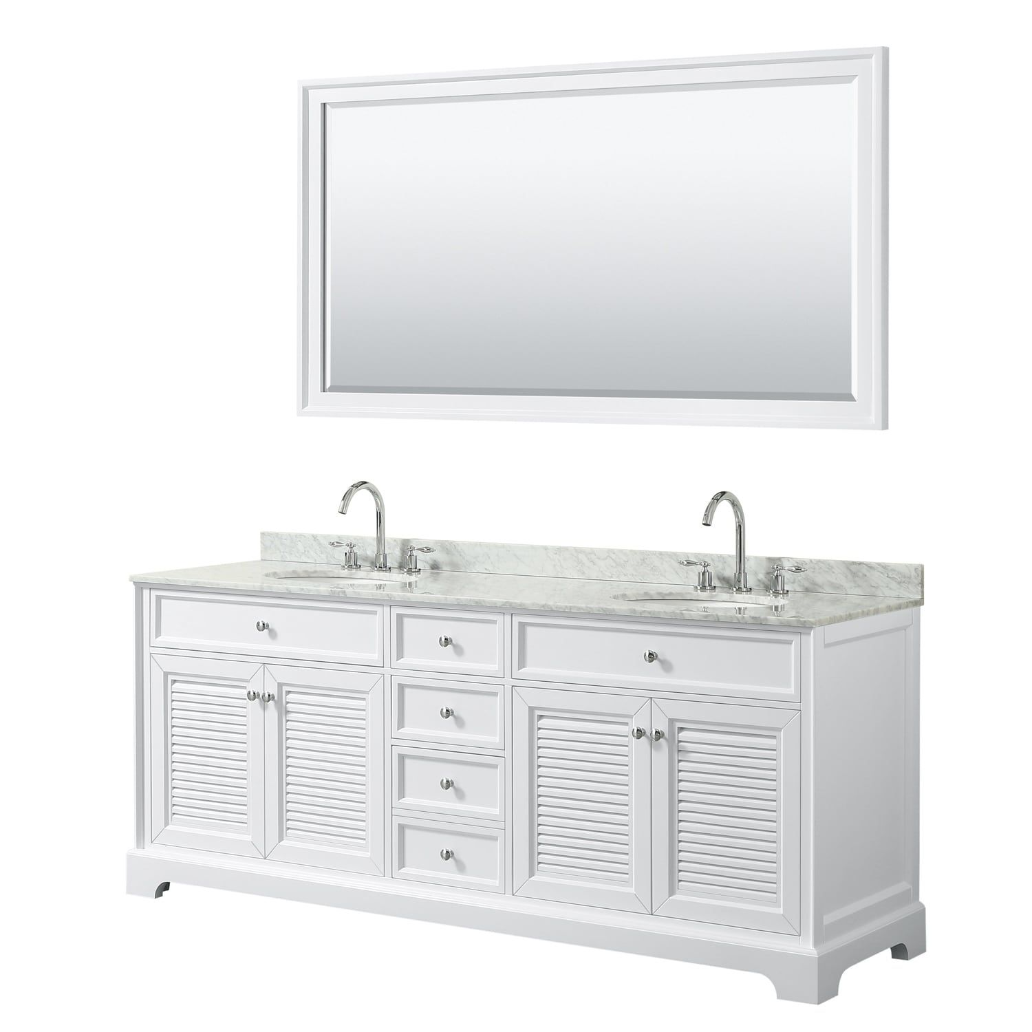 Tamara 80 Inch White Double Vanity Oval Sinks 70 Inch Mirror