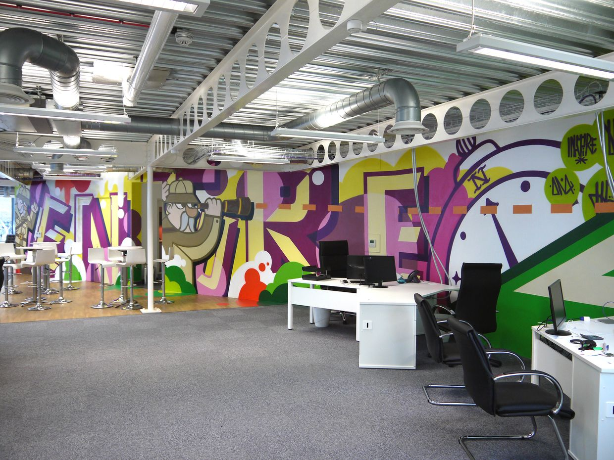 14 incredibly cool office murals Office mural, Creative
