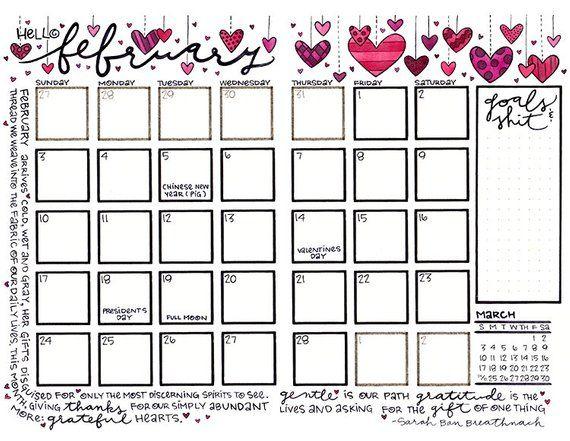 Calendar February 2019 Valentine February 2019 Hanging Valentine Hearts on Strings Bullet Journal