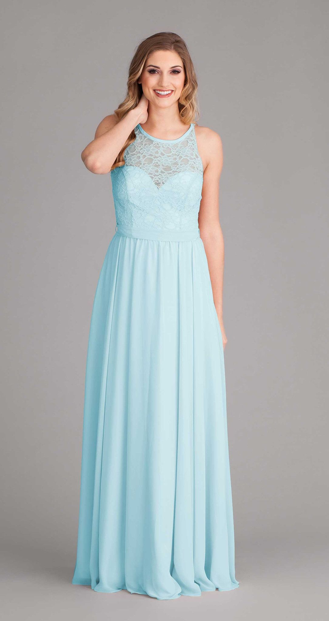 Delilah illusion neckline long bridesmaid dresses and lace top