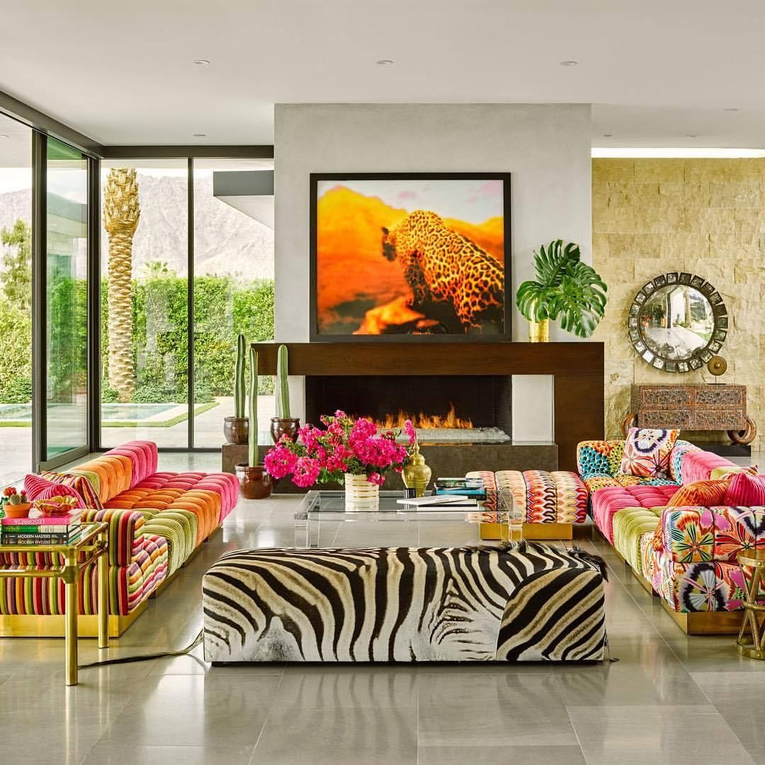 A Little Old School Palm Springs Glamour To Chase Away The Winter Blues Custom Missoni Sofas Th Custom Sectional Sofa Fireplaces Layout Popular Interiors