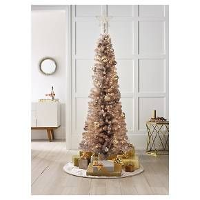 6ft pre lit artificial christmas tree slim rose gold spruce clear lights target