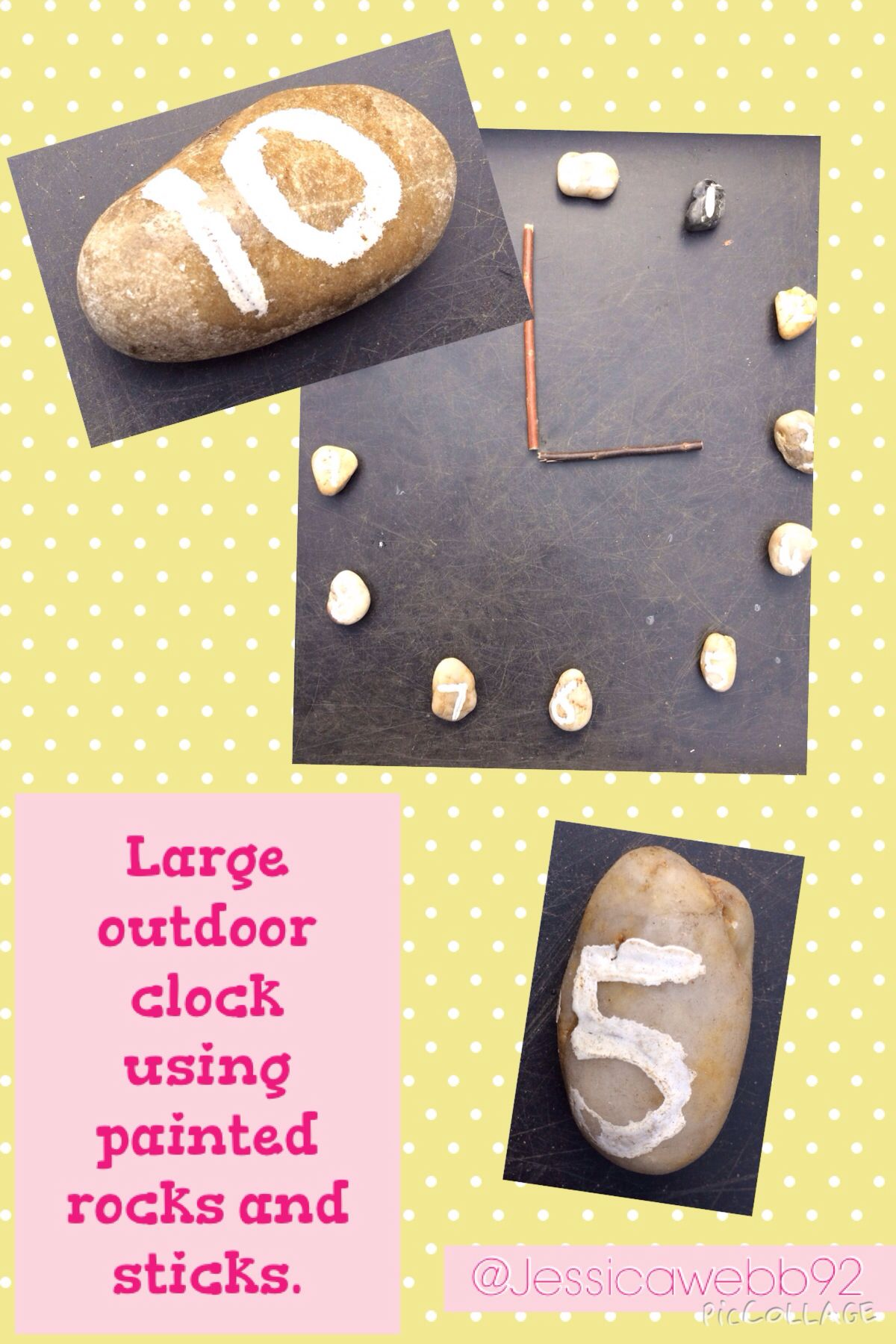 Large Outdoor Clock Using Sticks And Stones With Pan