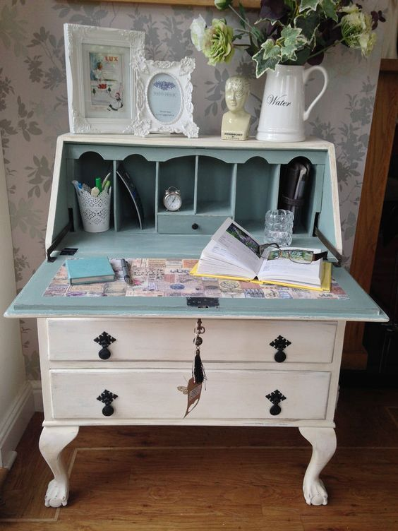 Antique Writing Bureau Shabby Country Chic Shabby Chic Dresser Furniture Makeover Shabby Chic Furniture