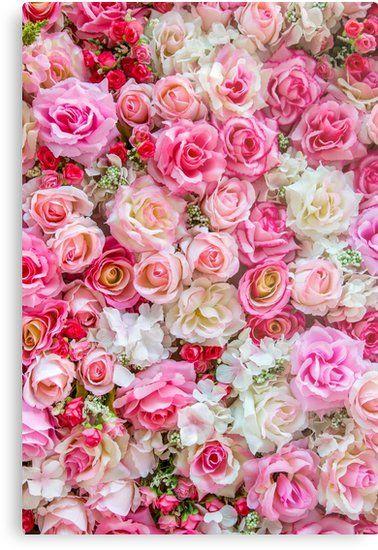 Pink Red Roses Romantic Floral Print Metal Print