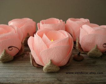 Rustic Flower LED Light- Set of 6, Rustic Wedding Votive, LED Candle Holder, Peach Wedding Table Decor, Country Rustic Wedding Centerpiece