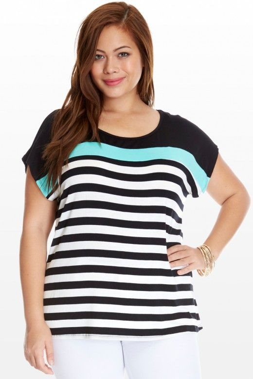 Plus Size Mint Julep Striped Top | Fashion To Figure