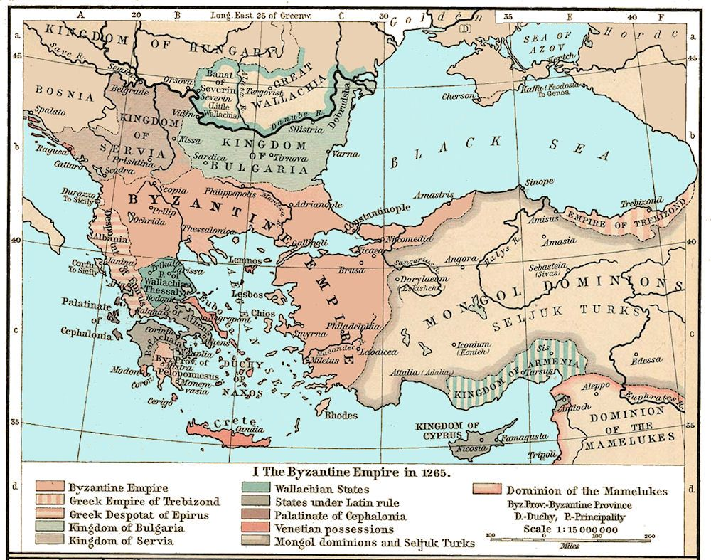 The Byzantine Empire in 1265 C.E. | CARTOGRAPHY | Constantinople map ...