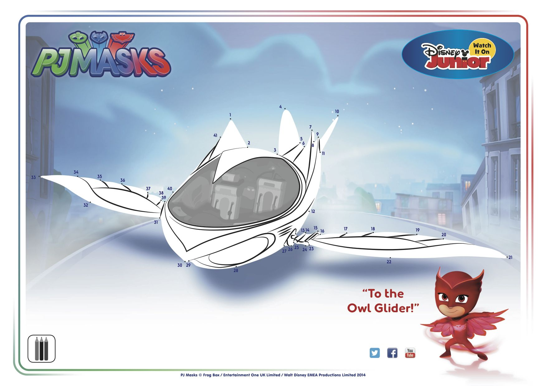 To The Owl Glider Pjmasks Activitysheet Connectthedots