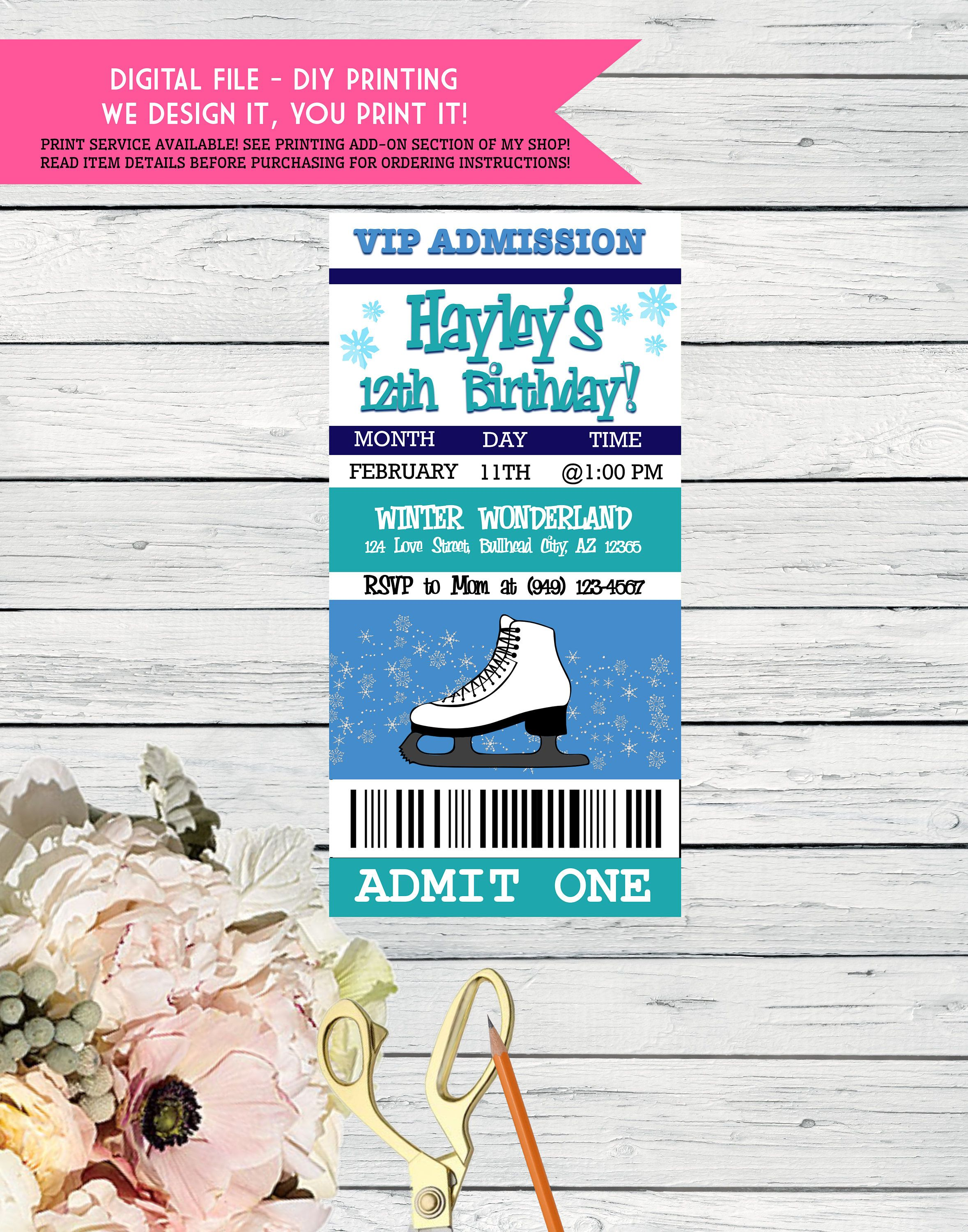 Ice Skate Party - VIP Pass ticket - Personalized birthday invitation ...