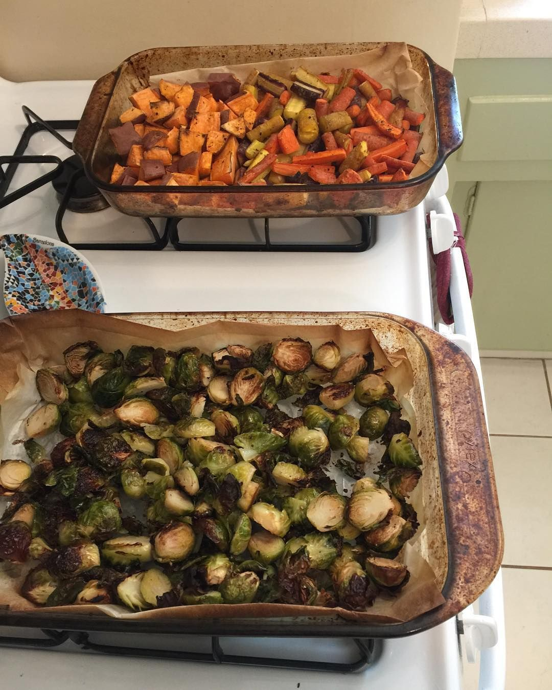 #VEGGIES!!! #BrusselSprouts #heirloom #carrots #sweetpotatoes - roasted in #olive oil salt pepper - 425 degrees - 40 minutes.