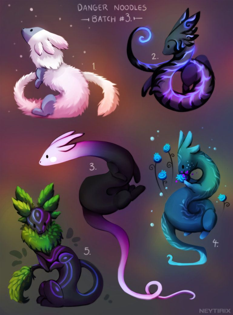 Danger Noodles Batch 3 By Ney Neytirix Fantasy Creatures Art Mythical Creatures Art Cute Fantasy Creatures