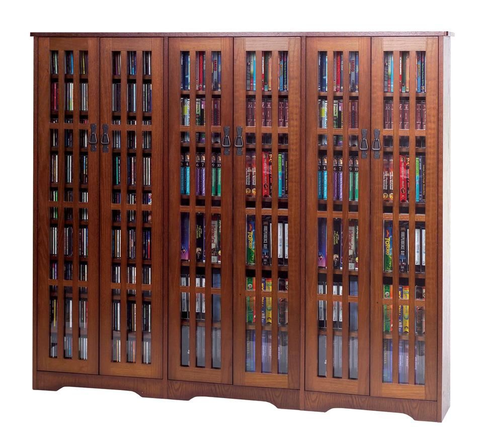 Leslie Dame Mission Media Cabinet W Six Glass Front Doors W