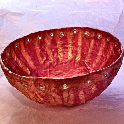 Hilary Bravo - papier mache bowls - creased finish - metallic powders and wax