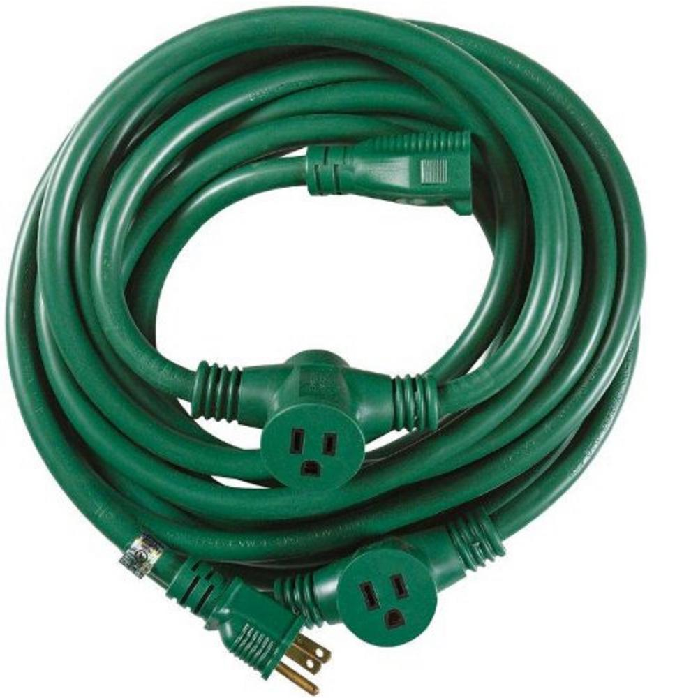Woods 25 Ft 14 3 Multi Outlet 3 Garden Outdoor Medium Duty Extension Cord Green Outdoor Extension Cord Extension Cord Christmas Lights Outside