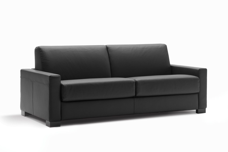 Cooper est un canapé convertible en cuir fleur noir marron foncé