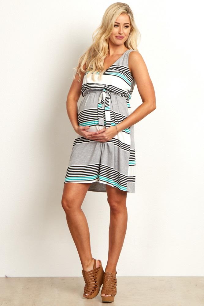 6e45652eb45 Grey-White-Jade-Alternating-Striped-Sash-Tie-Draped-Back-Maternity-Dress