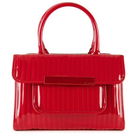 e426ccae93a0 Ted Baker Red Mardun Patent Quilted Tote Bag