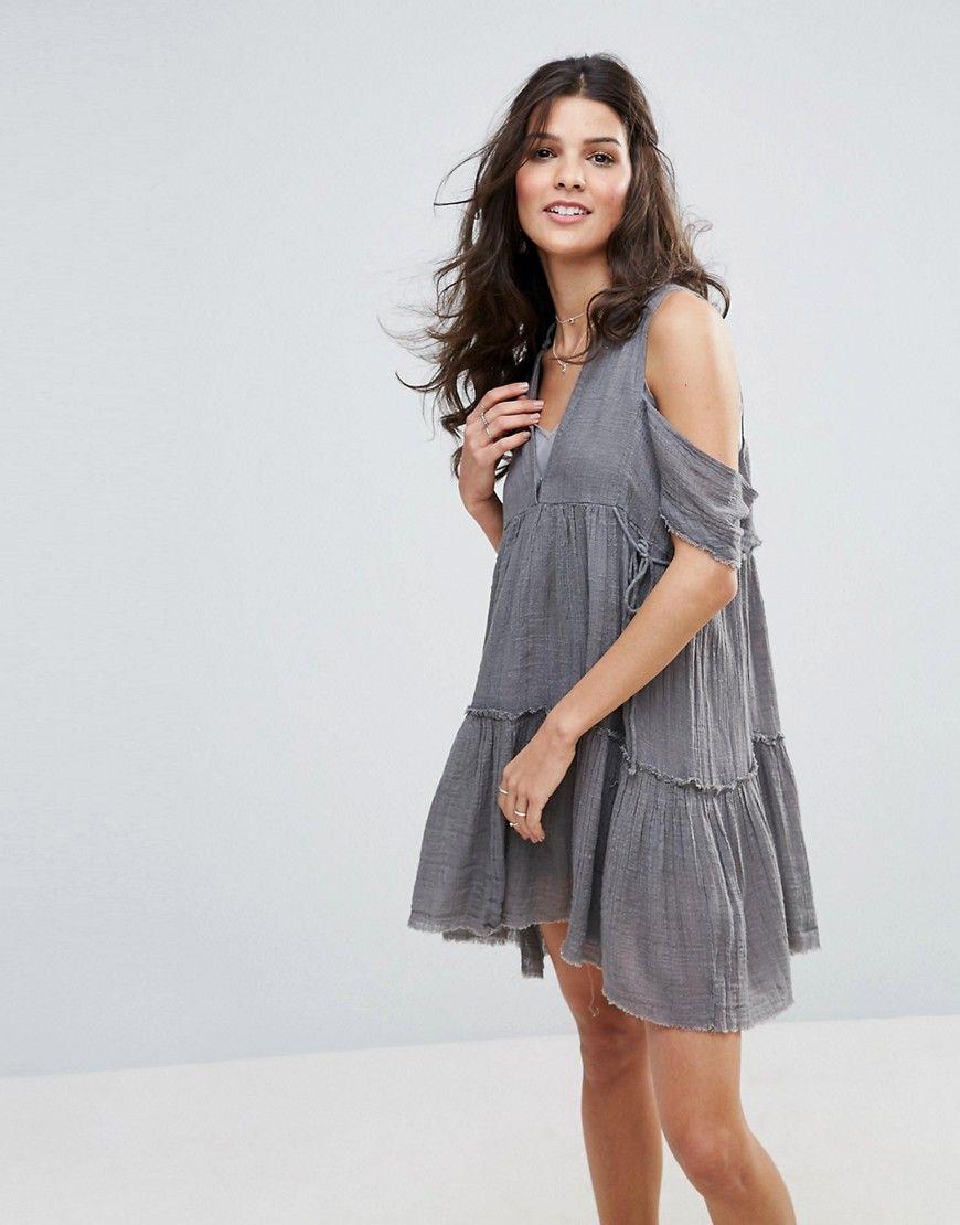 free people  gauze indus  kleid mit schulteraussparungen
