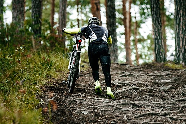 Cyclist Walk Climbs Uphill On Dirt Trail In Forest Cyclist Mountain Biking Stock Photos