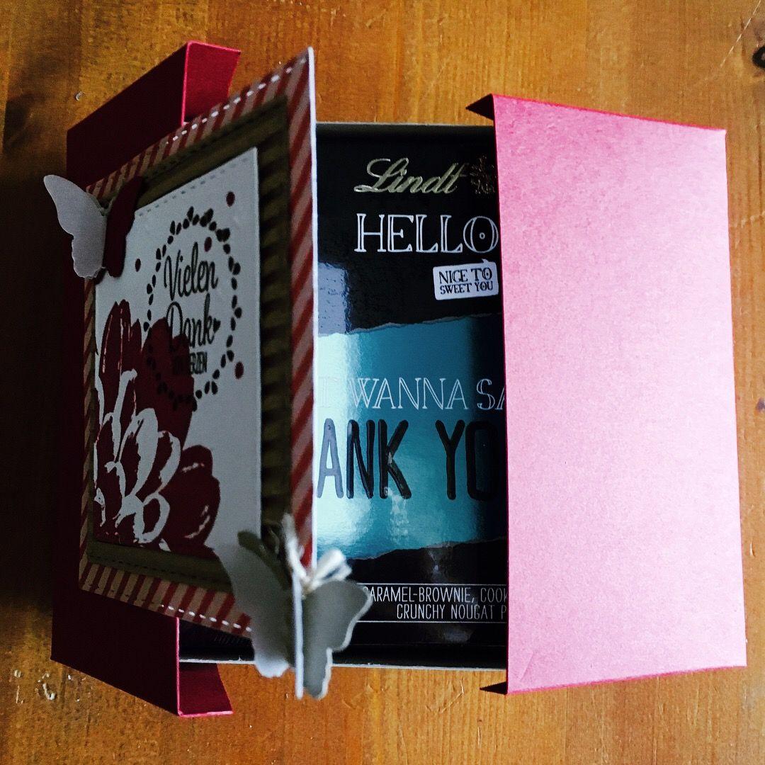 Double-Flip-Top-Verpackung mit Stampin up für kleine Lindt-Pralinen