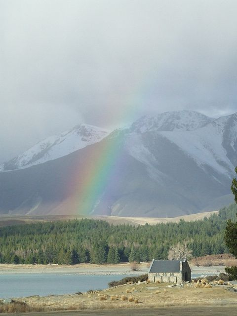 The Church of the Good Shepherd, Lake Tekapo, New Zealand at the end of a rainbow by Big..Al, via Flickr