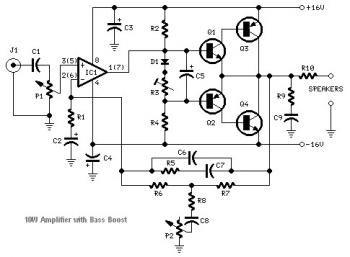 10w audio amplifier using tip41a  tip42a