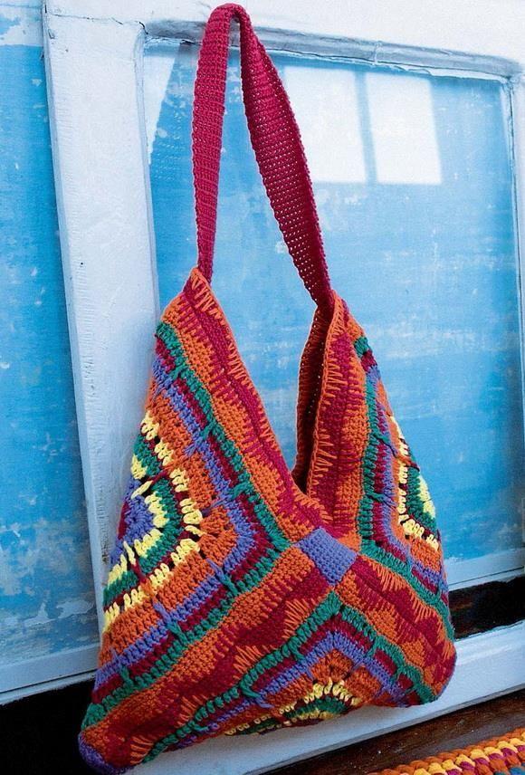 Crochet facile élégant: motif au crochet de sac d'été élégant – sac 3 grands carrés   – Tricot