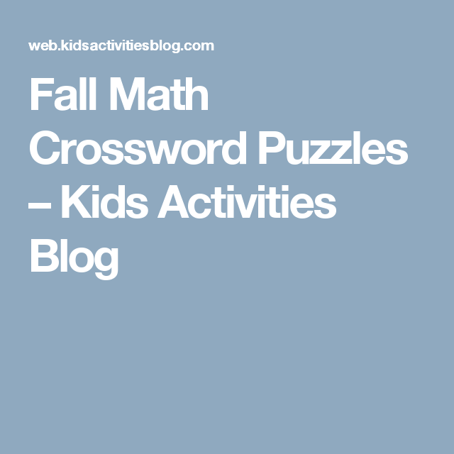 Fall Math Crossword Puzzles | Math, Library activities and Free ...