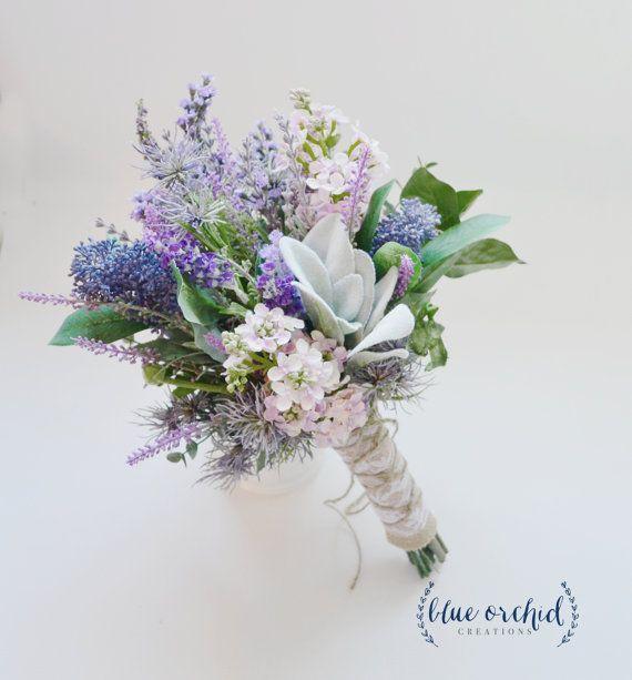 Hochzeits-Bouquet, Braut-Bouquet, Lavendel-und Lilac-Wildblumenstrauß mit Lamm es Ear, Rustic Wedding Bouquet, Wildflower Bouquet, Hochzeit