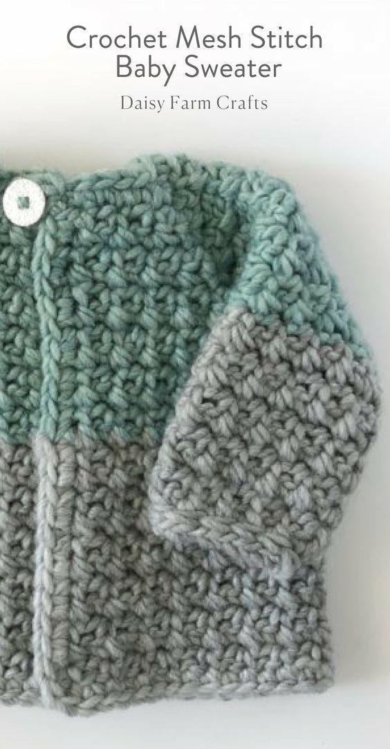 Free Pattern - Crochet Mesh Stitch Baby Sweater | baby sweaters ...