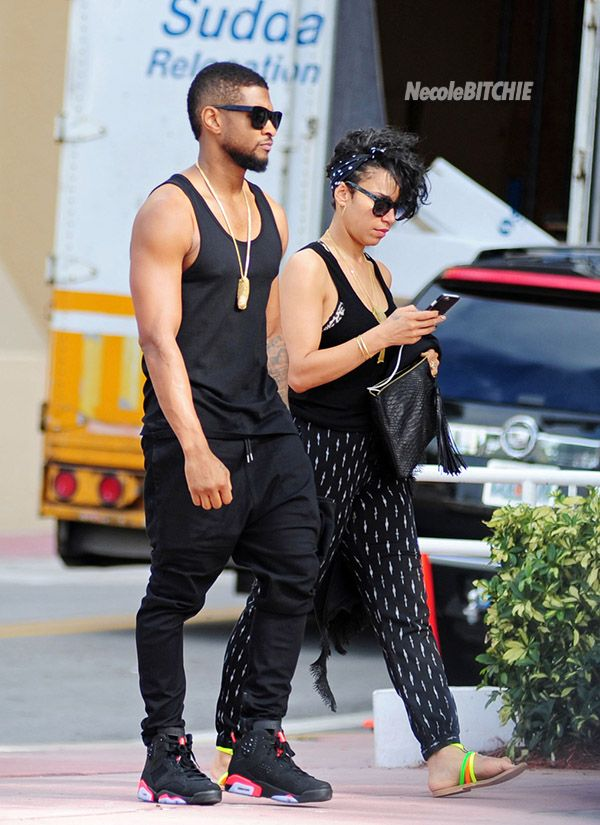 Usher And Girlfriend Grace Miguel Leave The Edition Hotel And Take A