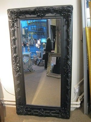 57cc2dc45c891 NOIR BLACK ORNATE LARGE HUGE OVERMANTLE FRENCH BOUDOIR CHUNKY MIRROR 4 FT