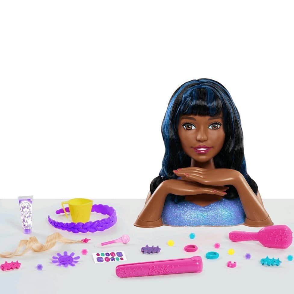 New Barbie Styling Head Black Blue Hair Barbie