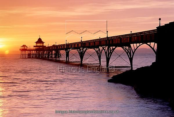Print Of Clevedon Pier At Sunset K990506 Clevedon Scenic Pictures Historic England