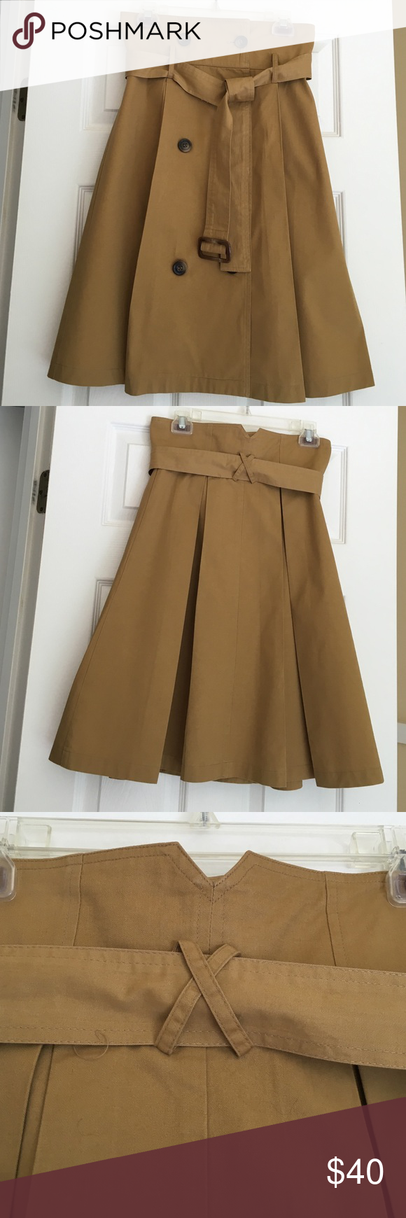 """Trench Inspired Skirt Trench Inspired Khaki Style Skirt. Length 26"""". Skirts"""